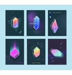 Set of neon space 80s style crystals vector