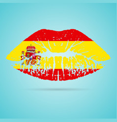 spain flag lipstick on the lips isolated on a vector image