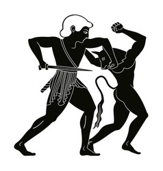 theseus kills the minotaur vector image vector image