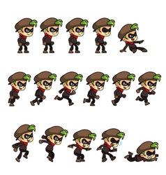 Thief boy game sprites vector