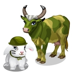 White bunny in helmet and cow in war paint vector