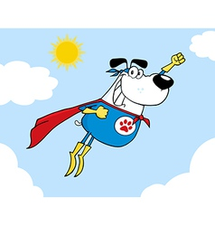 White Super Hero Dog Flying In Sky vector image vector image