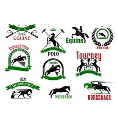 Horses with riders icons for equestrian design vector