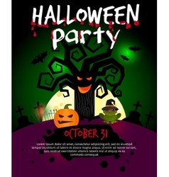 Halloween poster with scary old tree vector