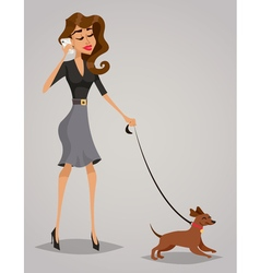 Young woman with a dog vector image