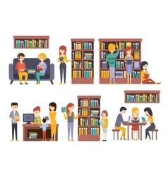 Library and bookstore with people reading vector