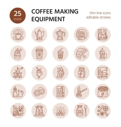 line icons of coffee making equipment vector image