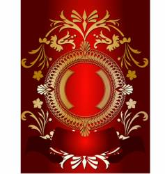 Golden ornate banner on red vector