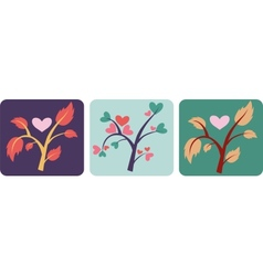 Set of love trees vector