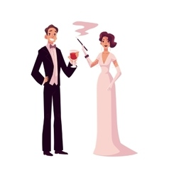 Man and woman in 1920s style clothes at vintage vector