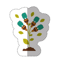 sticker of plant stem with leaves and fluorescent vector image