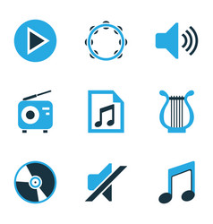 Multimedia colored icons set collection of vector