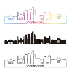 montevideo skyline linear style with rainbow vector image