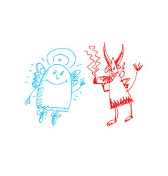 Hand drawn sketch of angel and devil vector