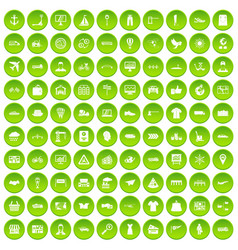 100 logistic and delivery icons set green circle vector image