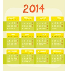Calendar of year 2014 vector