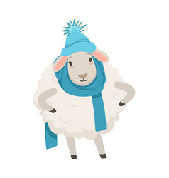 Cute white sheep character wearing blue knitted vector