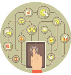 Social networking by tablet in gray circle vector