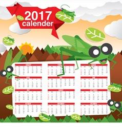 2017 Calendar Starts Sunday Jungle Concept vector image