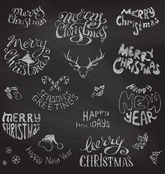 Chalkboard christmas icons and festive elements vector