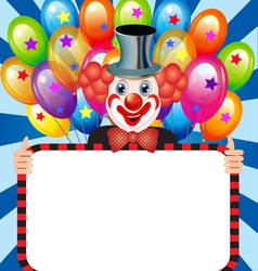 Merry clown with balloons holding vector