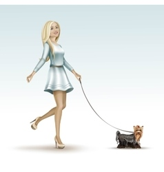 Blonde woman girl in fashion dress walking the dog vector