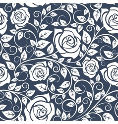 Seamles pattern with stems of white roses vector