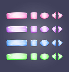 Shiny glass buttons of different shapes vector