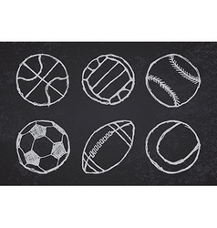 Ball sketch set simple outlined on blackboard vector