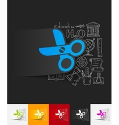 Scissors paper sticker with hand drawn elements vector