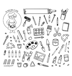Art tools sketch hand drawn set desing vector