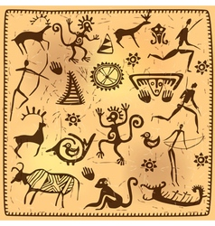 Set elements african petroglyph art old vector