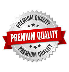 Premium quality 3d silver badge with red ribbon vector