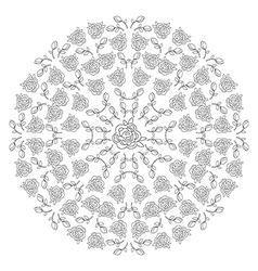 Decor floral roses mandala vector