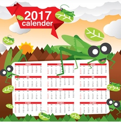 2017 calendar starts sunday jungle concept vector