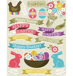 background with ribbon easter eggs rabbit and flow vector image vector image