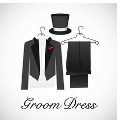 Card marriage groom suits vector