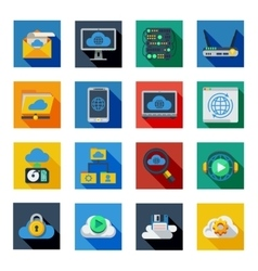 Cloud Service Icons In Colorful Squares vector image vector image
