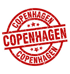 Copenhagen red round grunge stamp vector