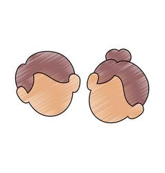 Cute couple faces vector