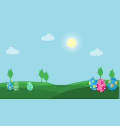 Easter egg on hill landscape vector