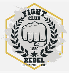 Fight club sign fist with laurel wreath hand vector
