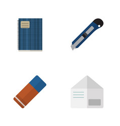 Flat icon stationery set of letter copybook vector