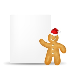 Gingerbread man with blank gift tag vector