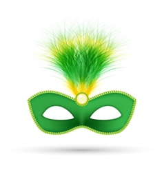 Green carnival mask with fluffy feathers isolated vector