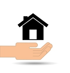 Hand holding house home design vector