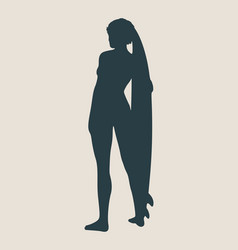 lady posing with surfboard vector image