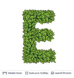 Letter e symbol of green leaves vector