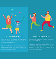 mom and daughter mother with child posters vector image