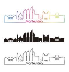 Montevideo skyline linear style with rainbow vector